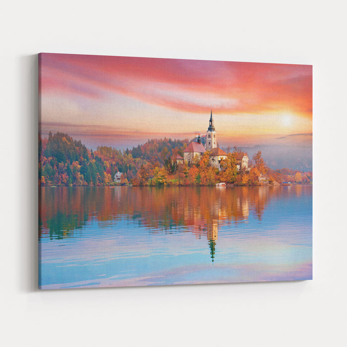 Magical Autumn Landscape With The Island On Lake Bled Blejsko Jezero Julian Alps, Slovenia, Europe Attractions Tourist Places Of Pilgrimage Meditation,inner Peace, Harmony, Honeymoon  Concept Canvas Wall Art Print