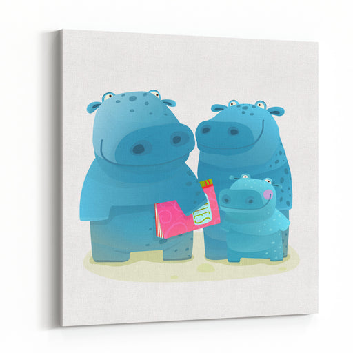 Hippo Family Mother Father And Kid With Book Happy Fun Watercolor Style Zoo Animal Family For Children Cartoon Illustration Canvas Wall Art Print