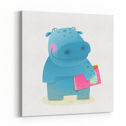 Hippopotamus Kid With Book Study Reading Happy Fun Watercolor Style Animal Going To School Cartoon Illustration Canvas Wall Art Print