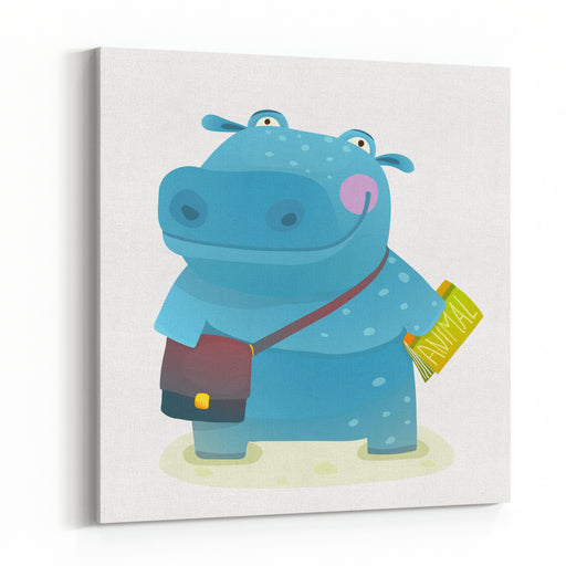 Hippopotamus Kid Student With Book And Bag Going To School Happy Fun Watercolor Style Pupil Animal Reading And Studying Cartoon Illustration Canvas Wall Art Print