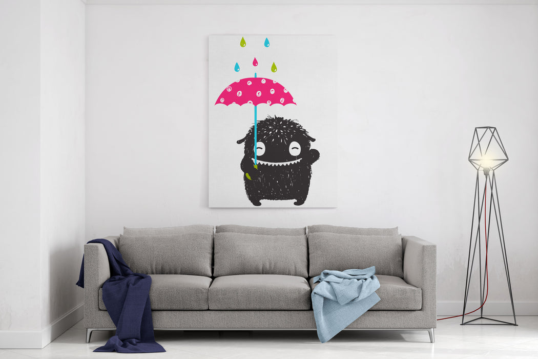 Monster For Kids With Umbrella Under Colorful Rain Drops Happy Funny Childish Little Monster With Umbrella In The Rain For Children Cartoon Illustration Canvas Wall Art Print