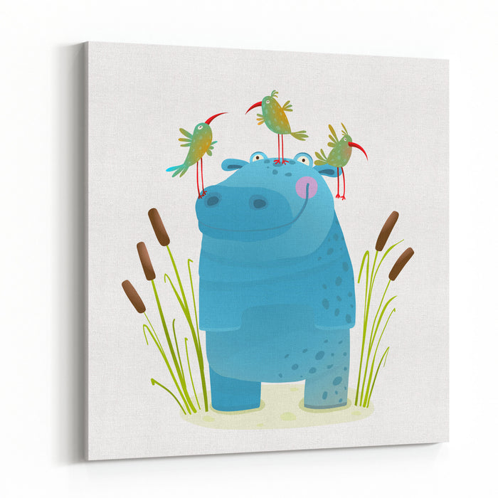 Wildlife Hippo With Cute Birds Smiling Kids Friends Happy Hippopotamus Watercolor Style Animal In The Wild Behemoth For Children Cartoon Illustration Canvas Wall Art Print