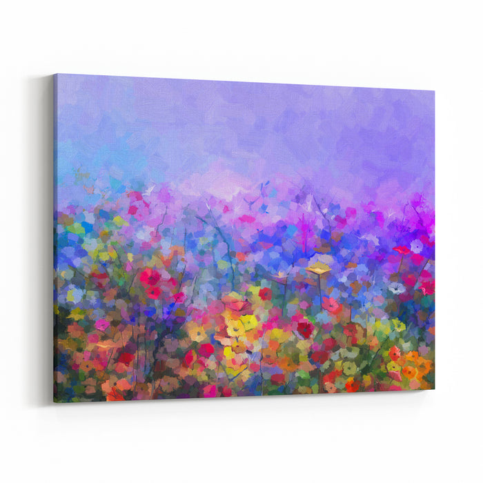 Abstract Colorful Oil Painting Purple Cosmos Flower, Daisy, Wildflower In Field Yellow And Red Wildflowers At Meadow With Blue Sky Spring, Summer Season Nature Background Canvas Wall Art Print