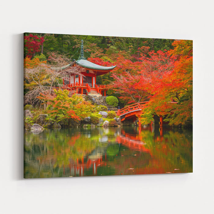 Daigoji Temple With Colorful Maple Trees In Autumn, Kyoto, Japan Canvas Wall Art Print