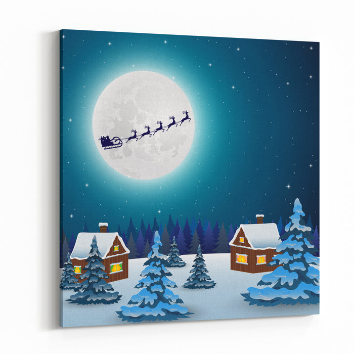 Night Christmas Forest Landscape Santa Claus Flies Reindeer In Canvas Wall Art Print