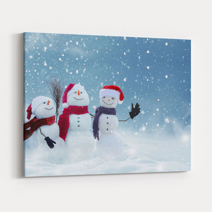 Merry christmas and happy new year greeting card with copyspacemany merry christmas and happy new year greeting card with copyspacemany snowmen standing in winter christmas landscapewinter m4hsunfo