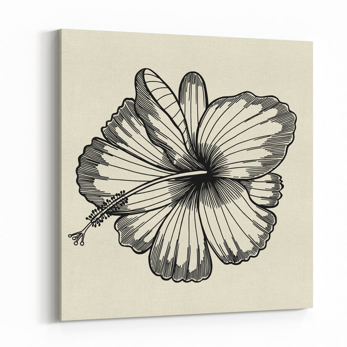 Beautiful Lily Painted In A Graphic Style Points And Lines A Great Figure For A Tattoo Canvas Wall Art Print
