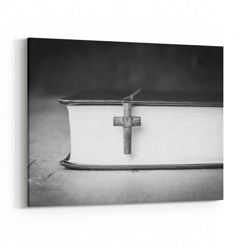 Cross On The Bible On A Wooden Background Holy Book Black And White Photography Canvas Wall Art Print