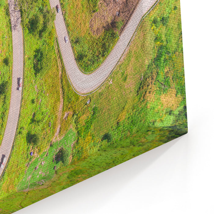 Aerial View Of Crooked Path Of Road On The Mountain, Shot From Drone Canvas Wall Art Print