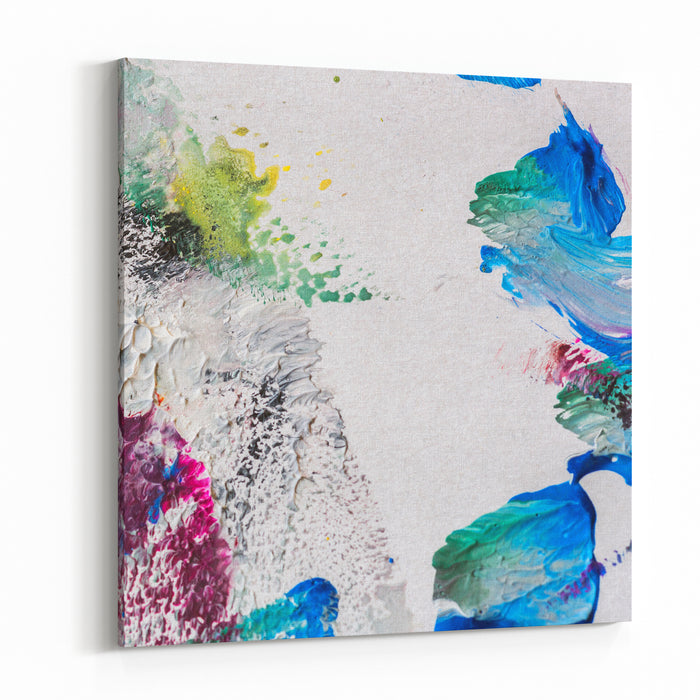 Abstract Painting On Paper Oil And Gouache Colorful Background Canvas Wall Art Print