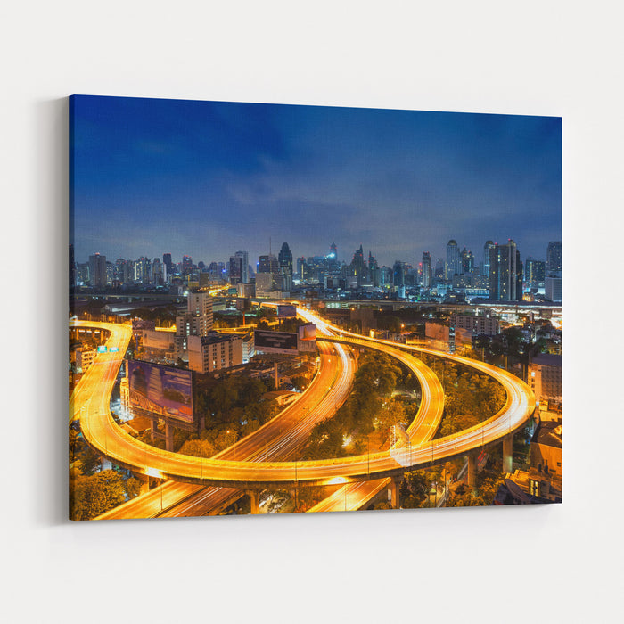 Bangkok Cityscape Bangkok Night View In The Business District Canvas Wall Art Print