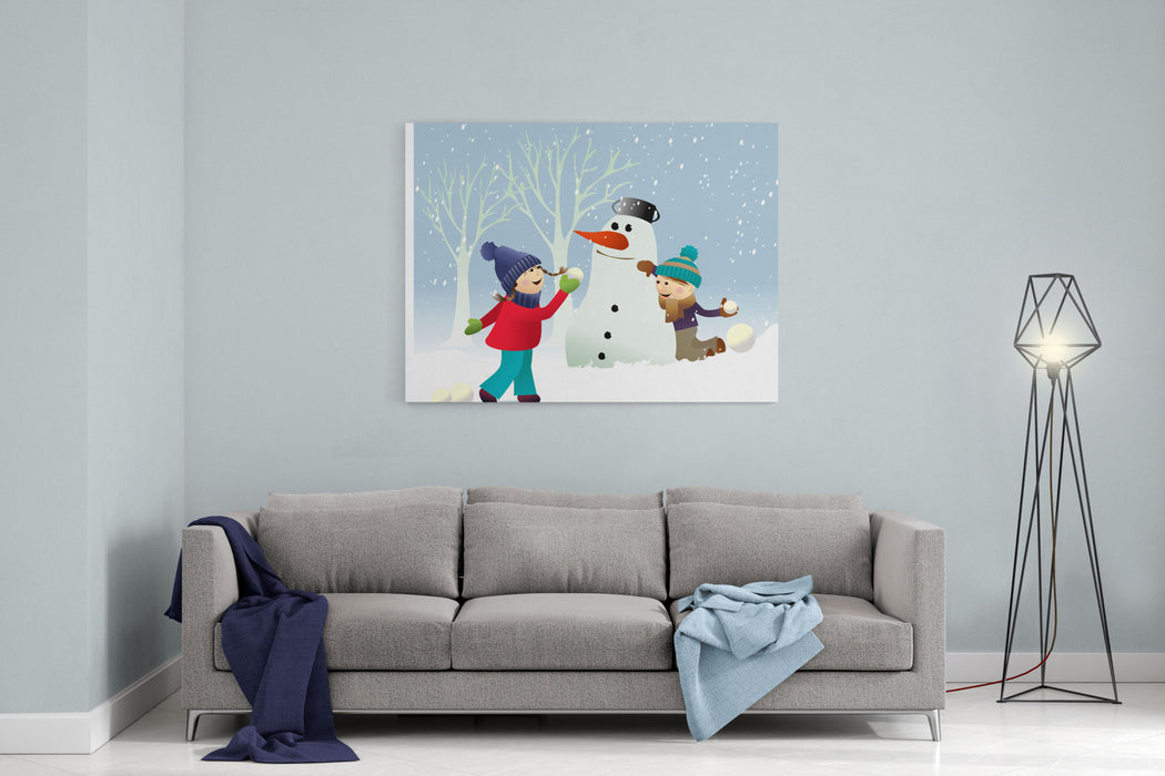 Winter Background With Playing Kids Canvas Wall Art Print