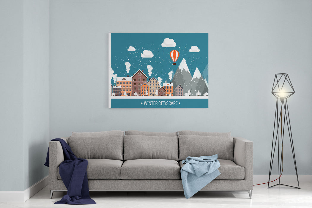 Vector Illustration Winter Urban Landscape City With Snow Christmas And New Year Cityscape BuildingsMountaines, Nature Canvas Wall Art Print