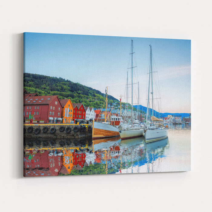 Bryggen Street With Boats In Bergen, UNESCO World Heritage Site, Norway Canvas Wall Art Print