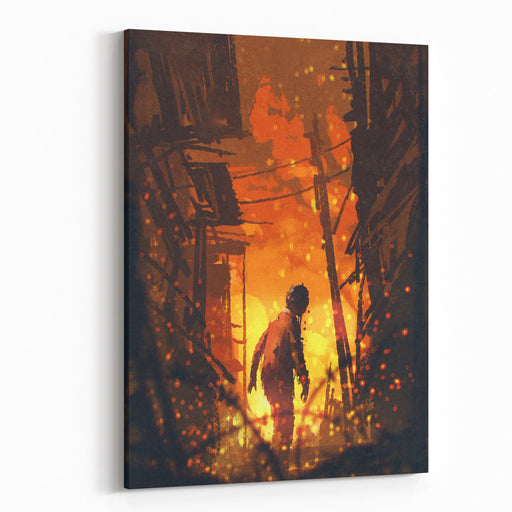 Zombie Looking Back With Burning City Background,illustration Painting Canvas Wall Art Print