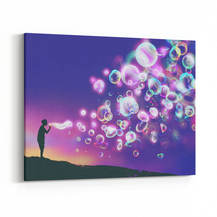 Young Man Blowing Glowing Soap Bubbles Against Evening Sky,illustration Painting Canvas Wall Art Print