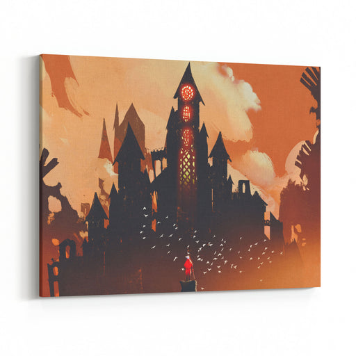 Red Knight Standing In Front Of Fantasy Castle In The Background Of Orange Clouds,illustration Painting Canvas Wall Art Print