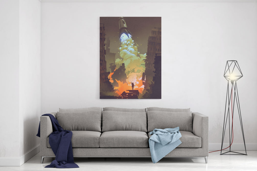 Kid Waving Goodbye And Standing In Front Of A Space Rocket Launch Take Off,illustration Painting Canvas Wall Art Print