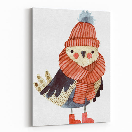 Little Cute Bullfinch With Winter Hat And Scarf Watercolor Hand Drawn Kids Illustration Christmas Winter Theme Set Of Christmas Elements With Gifts And Candies, Nature Elements Canvas Wall Art Print