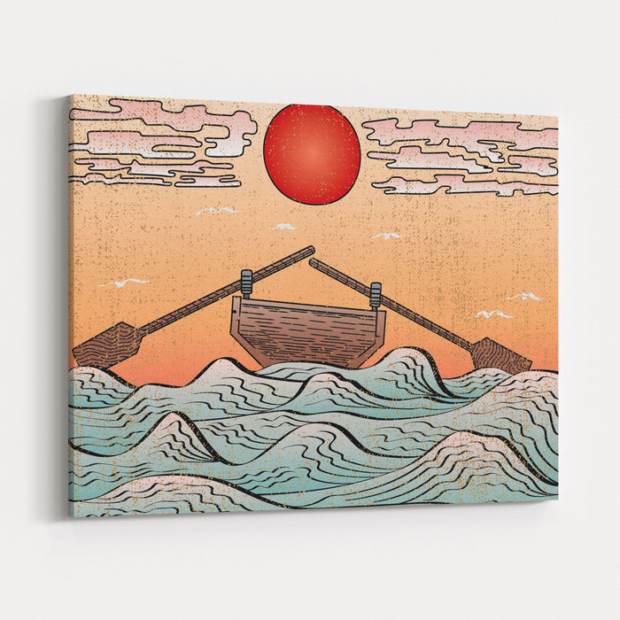 Wavy Sea Water Landscape Depicting Boat With Paddles Or Oars Down Sky Clouds And Sun Etching Illusion  Engraved Black Elements On Color Gradient Uniform Canvas Background  Japanese Woodcut Style Canvas Wall Art Print