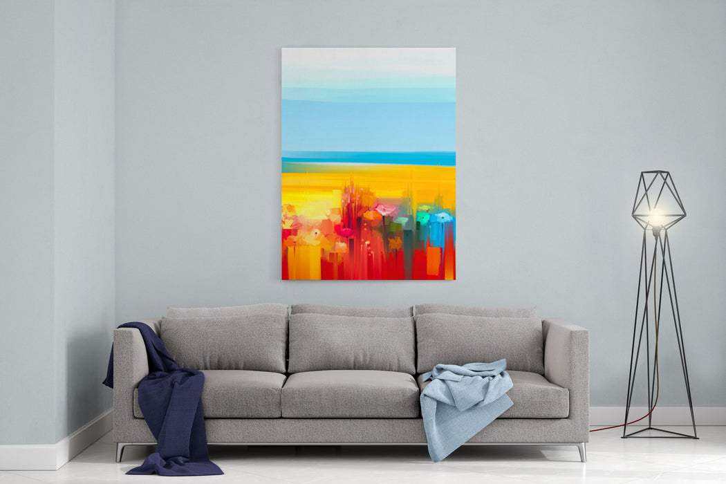 Abstract Colorful Oil Painting Landscape On Canvas Semi Abstract Image Of Flowers, Meadow And Field In Yellow And Red With Blue Sky Spring, Summer Season Nature Background Canvas Wall Art Print