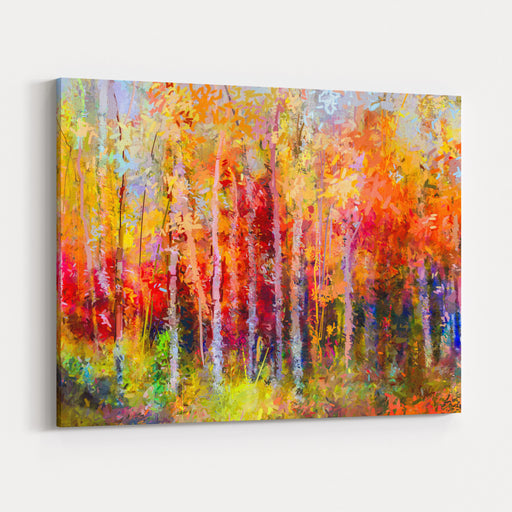 Oil Painting Landscape, Colorful Autumn Trees Semi Abstract Paintings Image Of Forest, Aspen Tree With Yellow, Red Leaf Fall Season Nature Background Hand Painted Impressionist, Outdoor Landscape Canvas Wall Art Print