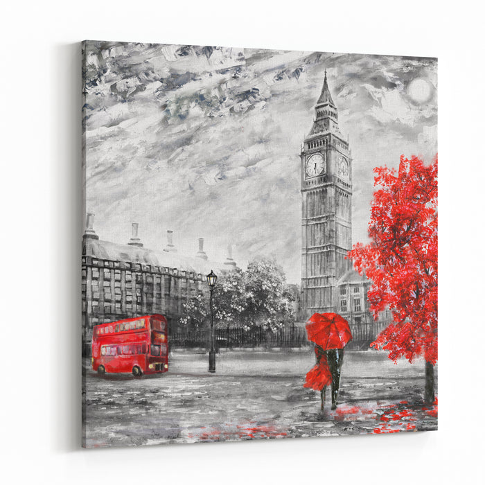 Oil Painting On Canvas, Street View Of London Artwork Big Ben Man And Woman Under A Red Umbrella, Bus And Road Tree England Canvas Wall Art Print