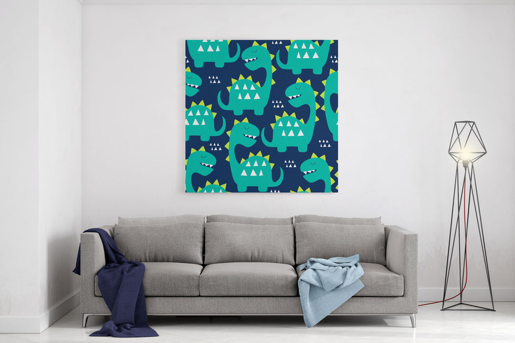 Seamless Dinosaur Pattern Vector Illustration Canvas Wall Art Print