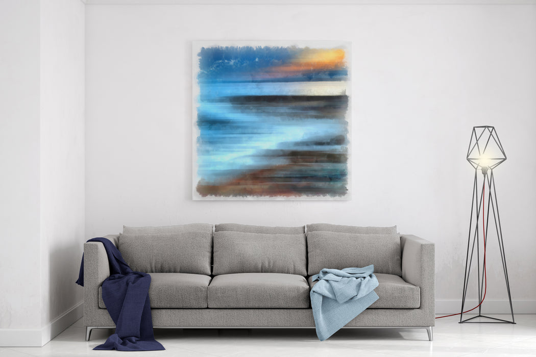 Sunset In The Southern Sea Abstract Watercolor Background Digital Painting Canvas Wall Art Print