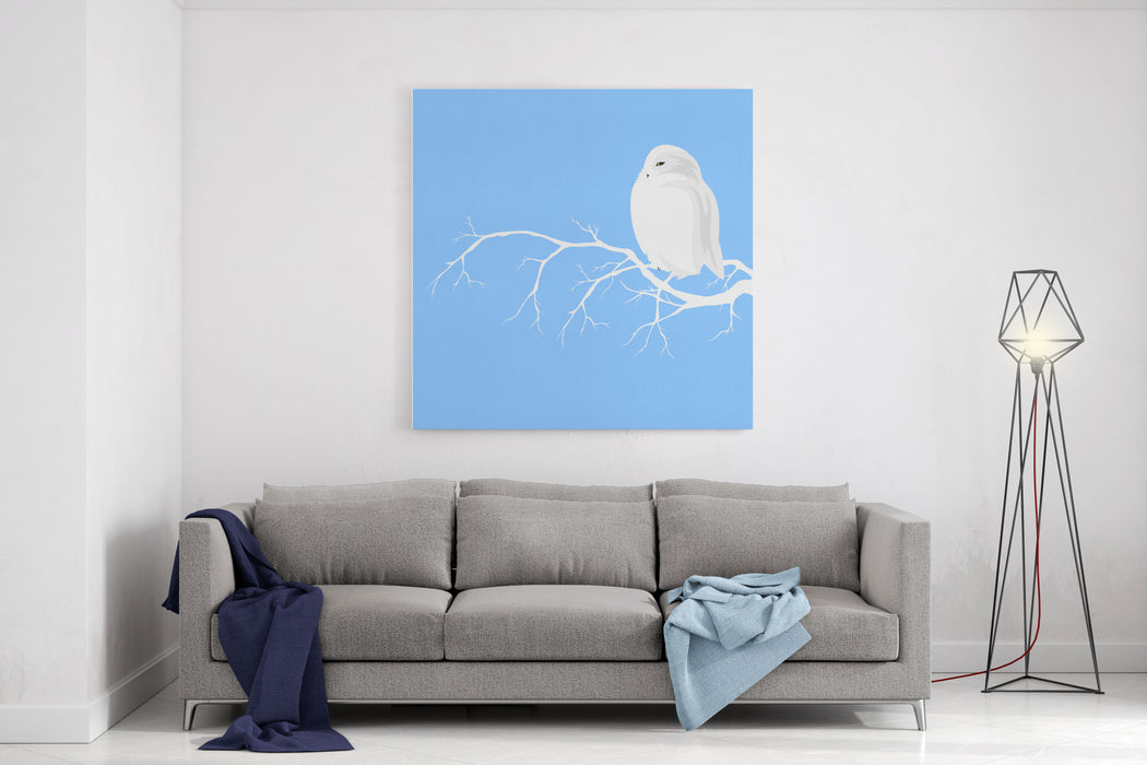 Christmas Theme Design With White Polar Owl Sitting On Branch  Winter Season Wildlife Canvas Wall Art Print