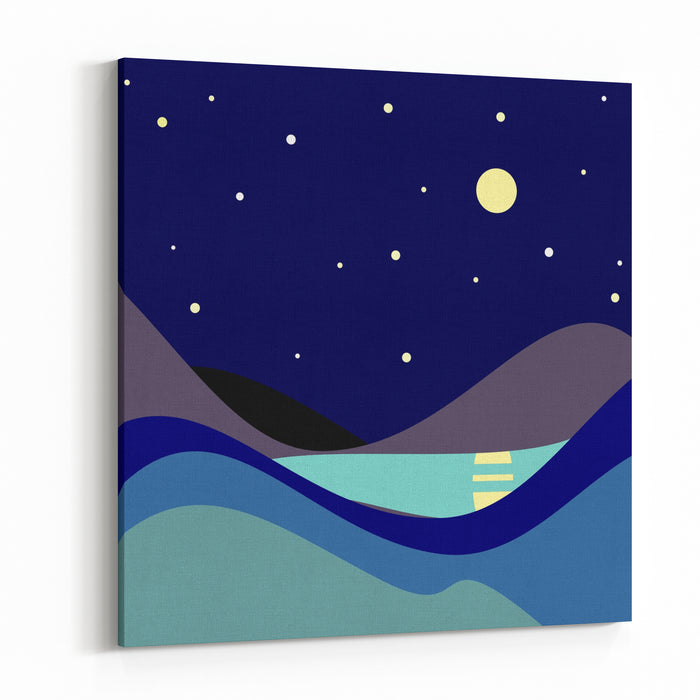 Landscape Moonlit Night Vector Illustration Canvas Wall Art Print