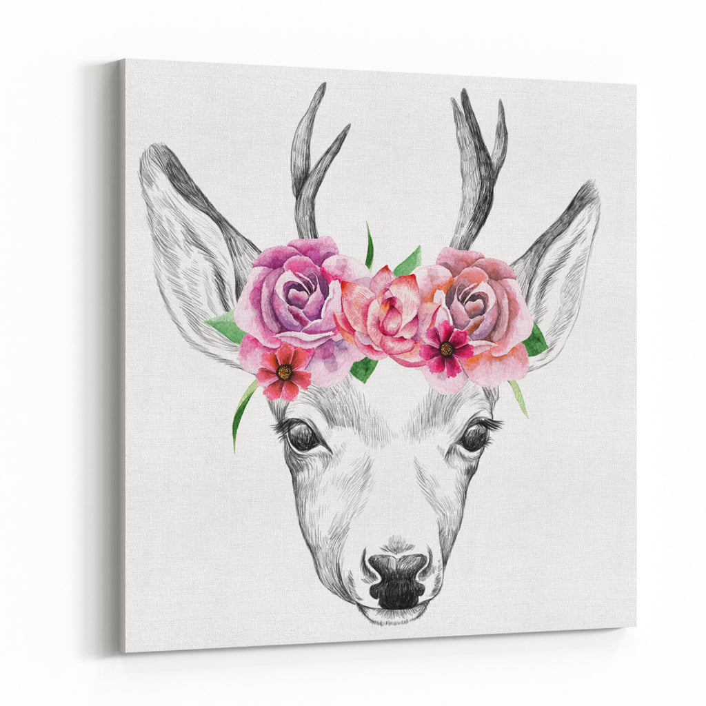 Deer pencil drawing with watercolor flowers canvas wall art print