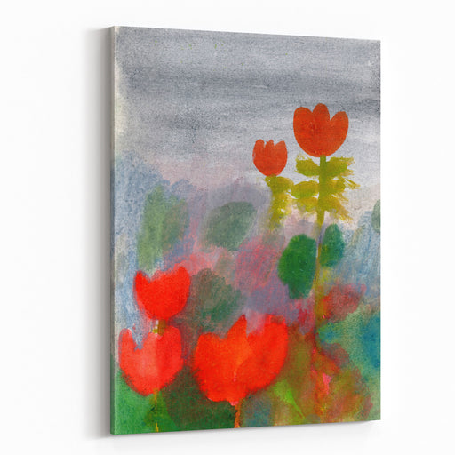 Green Life Nature Flowers Red Tulips Hand Drawn Landscape Dark Sky Rainy Day Art Summer Garden Watercolor Illustration Beautiful Nature Card Design Canvas Wall Art Print