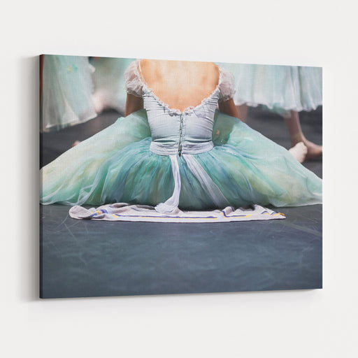 Ballerinas In The Movement Behind The Theater Scenes, Warmup Of Ballerinas Before A Performance Canvas Wall Art Print