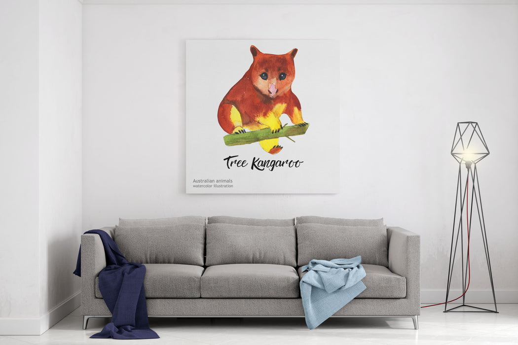 Australian Animals Watercolor Illustration Hand Drawn Wildlife Isolated On A White Background Tree Kangaroo Canvas Wall Art Print