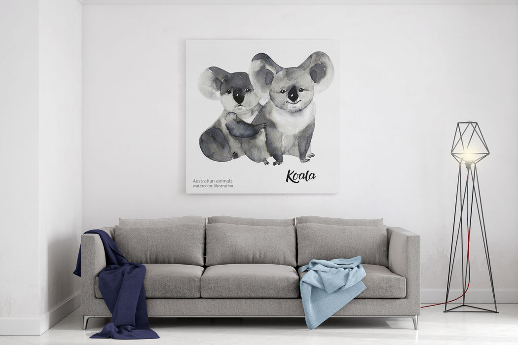 Australian Animals Watercolor Illustration Hand Drawn Wildlife Isolated On A White Background  Koala Canvas Wall Art Print