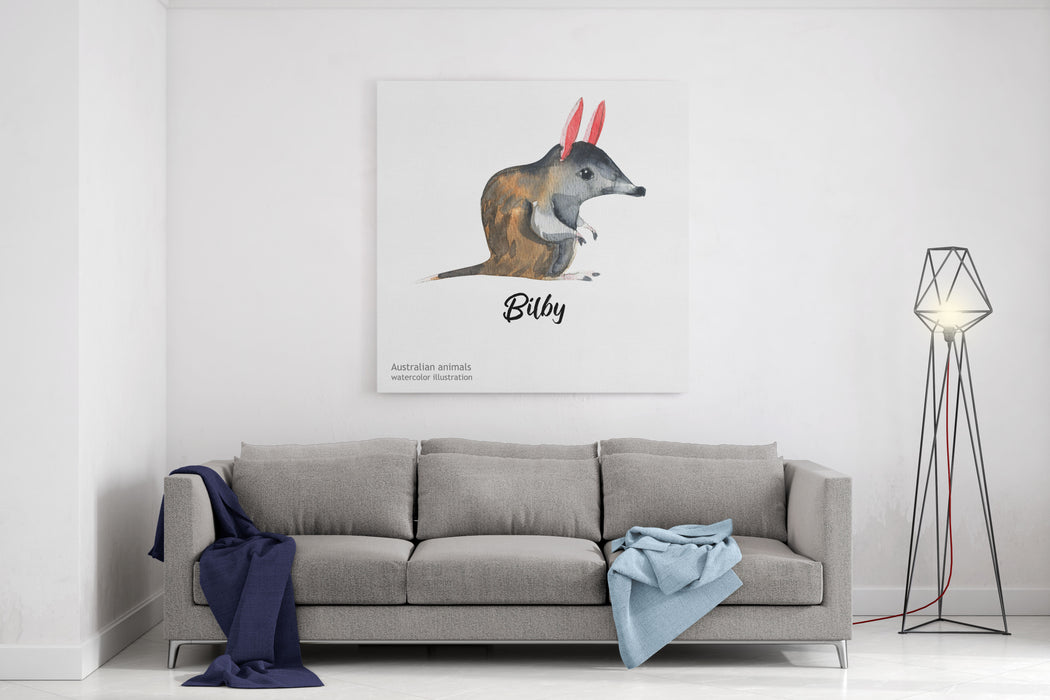 Australian Animals Watercolor Illustration Hand Drawn Wildlife Isolated On A White Background Bilby Canvas Wall Art Print