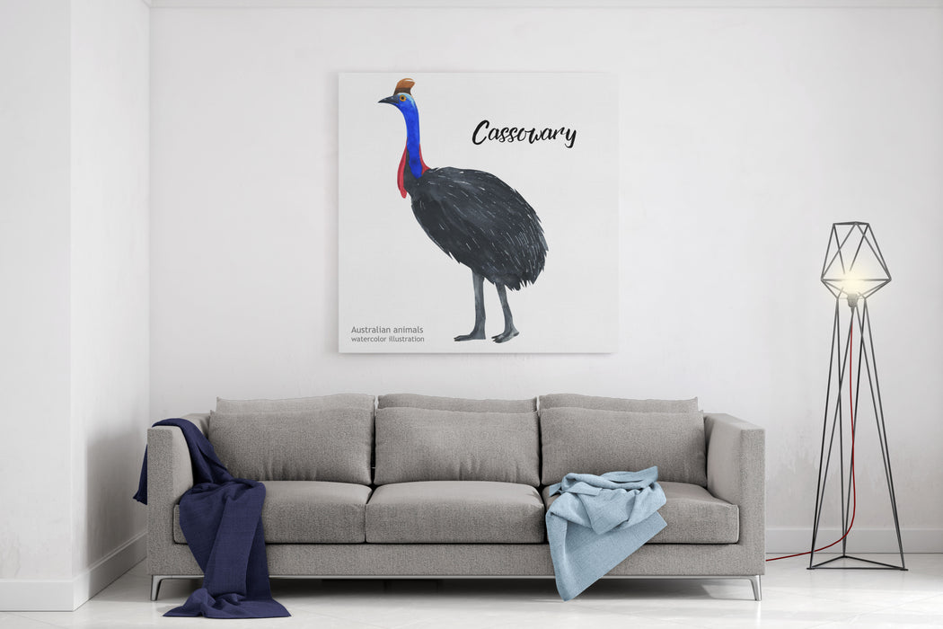 Australian Animals Watercolor Illustration Hand Drawn Wildlife Isolated On A White Background Cassowary Canvas Wall Art Print