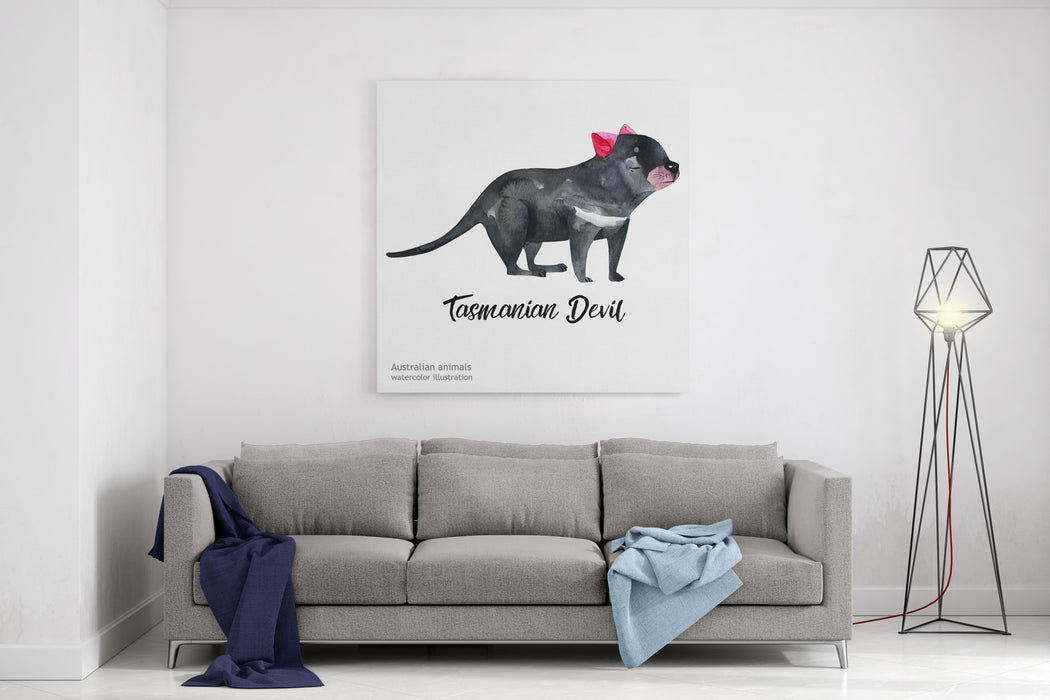 Australian Animals Watercolor Illustration Hand Drawn Wildlife Isolated On A White Background Tasmanian Devil Canvas Wall Art Print
