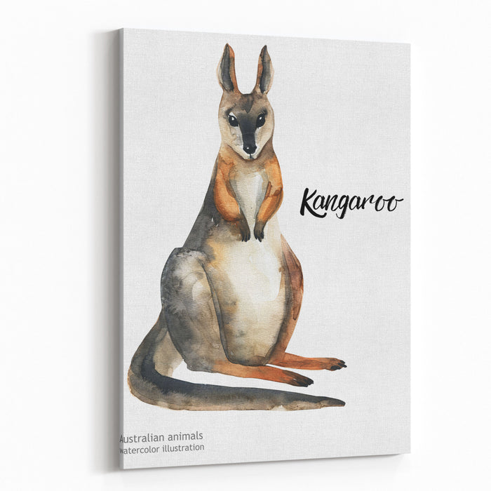 Australian Animals Watercolor Illustration Hand Drawn Wildlife Isolated On A White Background Kangaroo Australia Day Canvas Wall Art Print