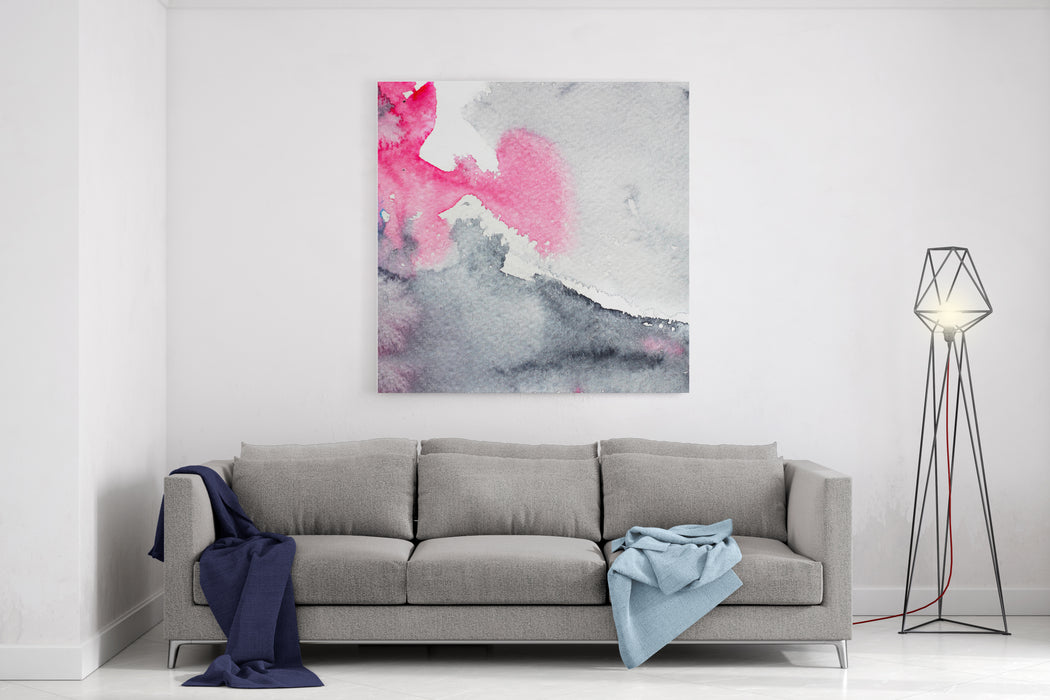 Hand Drawn Watercolor Abstract Painting, Background For Trendy Design In Pink And Grey Colors Canvas Wall Art Print