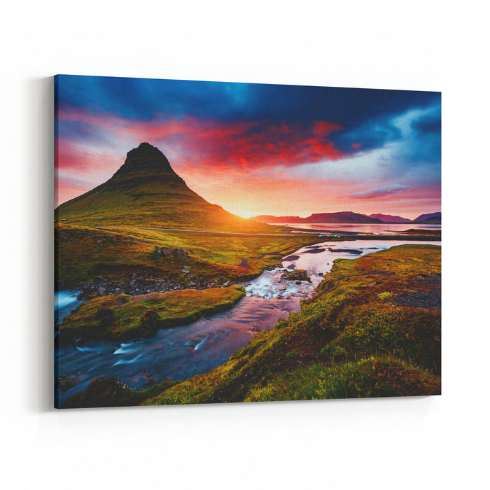 Fantastic Evening With Kirkjufell Volcano The Coast Of Snaefellsnes Peninsula Picturesque And Gorgeous Morning Scene Location Famous Place Kirkjufellsfoss Waterfall, Iceland, Europe Beauty World Canvas Wall Art Print