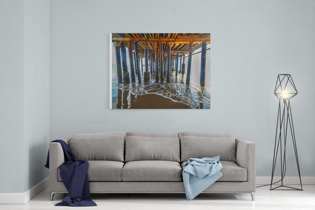 Close Up Of Wooden Poles Of Santa Barbara Pier, California Canvas Wall Art Print