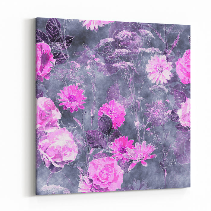 Art Vintage Watercolor Floral Seamless Pattern With Monochrome Pink Roses, Peonies, Asters, Leaves And Grasses On Violet Background Canvas Wall Art Print