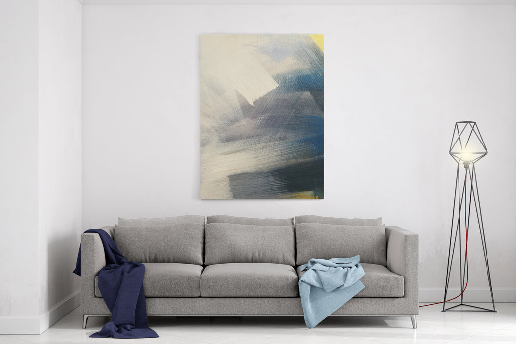 White, Yellow, Blue And Grey Watercolor Paint On Canvas Colorful Painting Abstract Background Canvas Wall Art Print