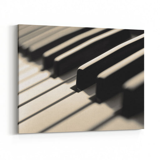 Piano Keys Closeup View Blackwhite Canvas Wall Art Print