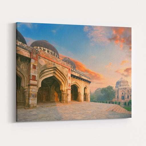Bada Gumbad And Sheesh Gumbad Complex At Early Morning In Lodi Garden Monuments, Delhi, India Canvas Wall Art Print