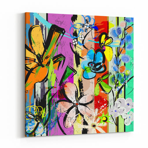 Abstract Background Composition With Flowers, With Strokes, Splashes And Geometric Lines Canvas Wall Art Print