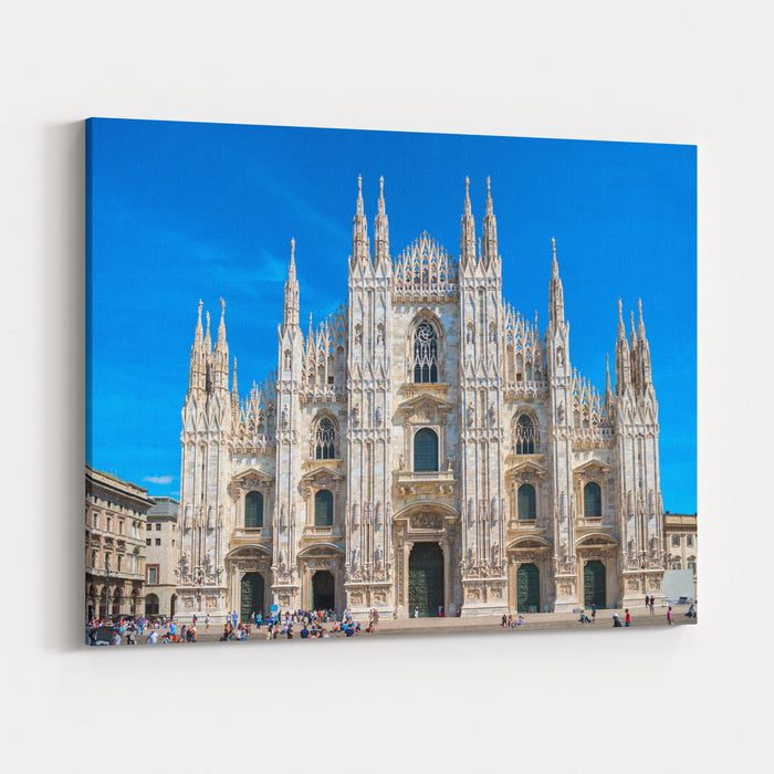 Daytime View Of Famous Milan Cathedral Duomo Di Milano On Piazza In Milan, Italy Canvas Wall Art Print