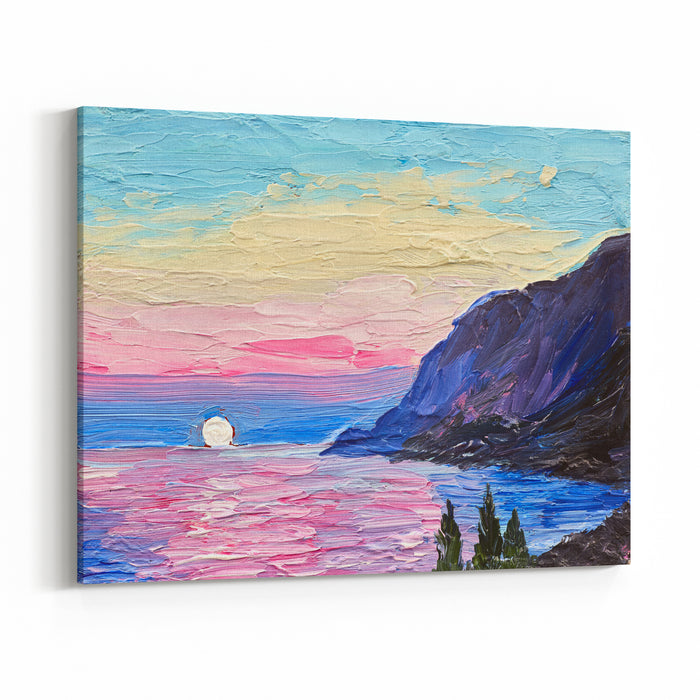 Oil Painting, Pink Sunset, Sea, Mountains Canvas Wall Art Print